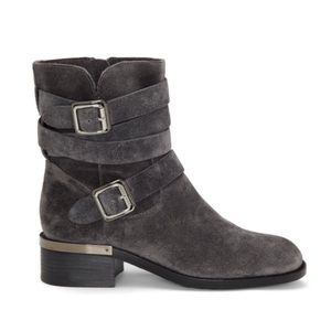 Vince Camuto charcoal grey suede Webey moto boots